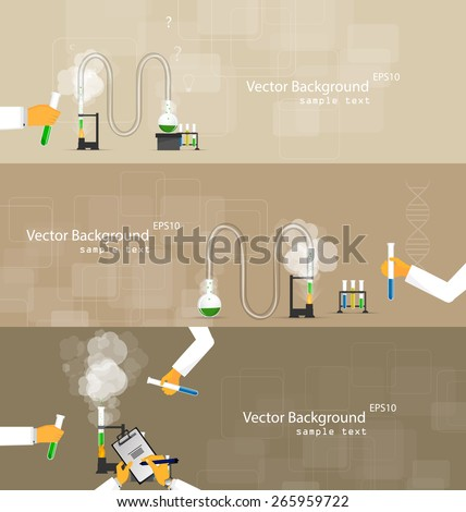 Vector illustrations of scientists in laboratories conducting research - stock vector