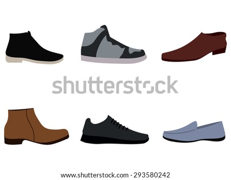 Vector illustrations of shoes for men - stock vector