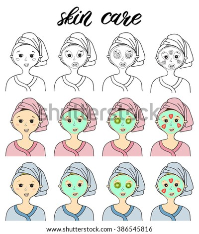 Vector illustrations of skin care stages