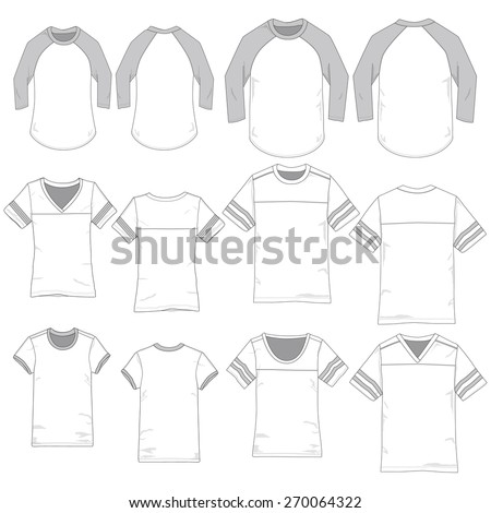 Vector Illustrations of Sporty Women and Men's Apparel. - stock vector