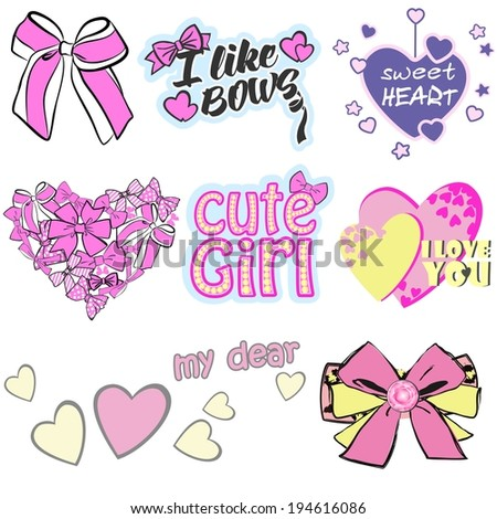 Vector illustrations of trendy prints for clothes for girls and woman (can be used as prints for shirts, briefs, pants, pajamas, underwear and another wear). Compositions with bows, hearts and fonts - stock vector