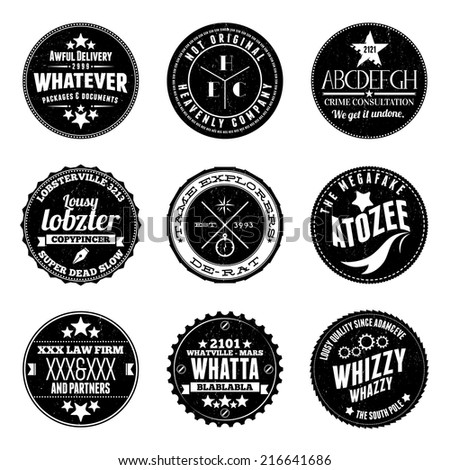 Vector illustrations of various custom circular stamp badges. - stock vector