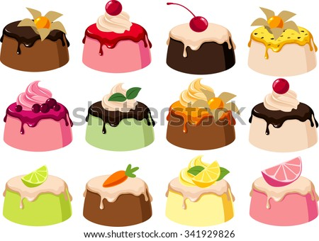 Vector illustrations of various jellies/puddings. - stock vector