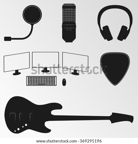 Vector illustrations on the theme of musical instruments - stock vector
