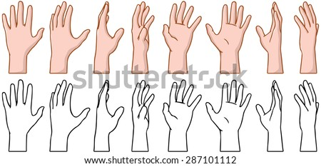 Vector illustrations pack of 360 degree rotation of a human palm. - stock vector