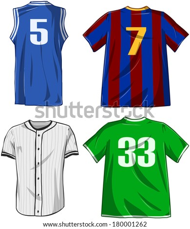 Vector illustrations pack of various sports shirts.  - stock vector