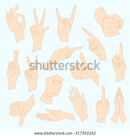 Vector illustrations set of universal gestures of hands. Hands in different interpretations. - stock vector