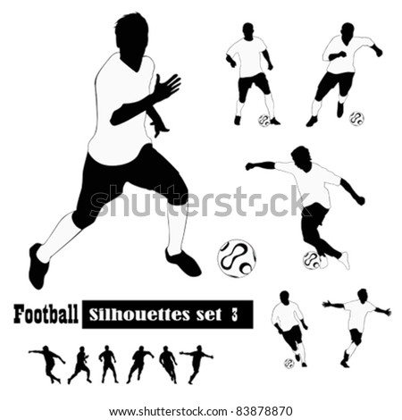 Vector illustrations.Soccer players silhouettes - stock vector