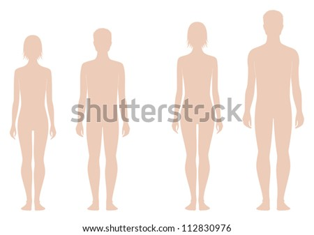 Vector illustrations. Teenager's figures. Change in proportions: 12 and 15 years - stock vector