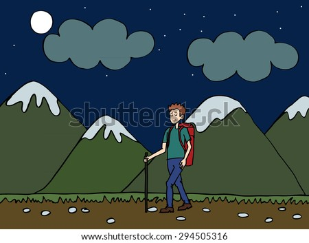 vector illustrations traveler. tourist walking in the mountain at night. climber.Man traveler with backpack hiking equipment walking in mountains. Mountain tourism concept in cartoon design style - stock vector