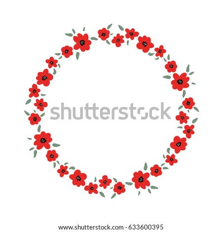 Vector illustrator doodle cartoon bright red stock vector 633600395 vector illustrator doodle cartoon bright red poppy flowers with green leaves circle frame mightylinksfo