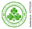 Vector illustrator of a grunge rubber stamp with four-leaves clover and text (happy st. patrick's day written inside the stamp) isolated on white background - stock photo