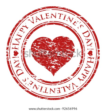 Vector illustrator of a grunge rubber stamp with heart and text (happy valentine's day written inside the stamp) isolated on white background - stock vector