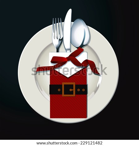 Vector illustrator of Christmas table setting. Napkin Santa Suit and fork, knife and spoon on white plate in black background. Christmas party concept - stock vector