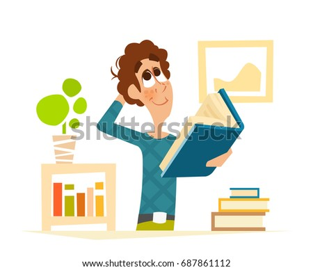 Vector illustrator of young student reading a book