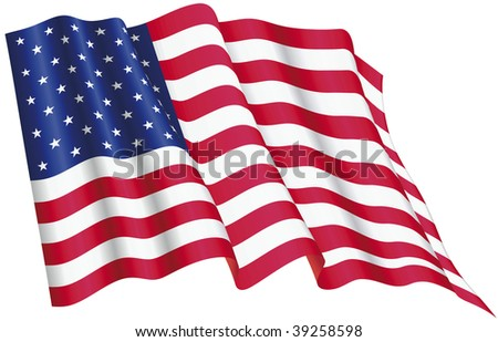 Vector Illuustration of American Flag proudly waving - stock vector