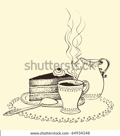 Vector image. A cup of coffee, cake and milk jug - stock vector
