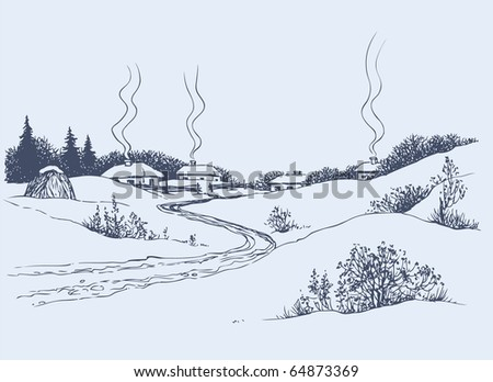 Vector image. A dirt road leads to the village through the winter steppe - stock vector