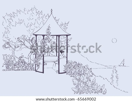 Vector image. A young girl rests in a cozy alcove in the lush garden near the sea - stock vector