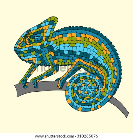 vector image abstract multicolored mosaic chameleon, reptiles, iguanas, lizards, drawn by hand, pencil, pen. Chameleon sitting on a branch - stock vector