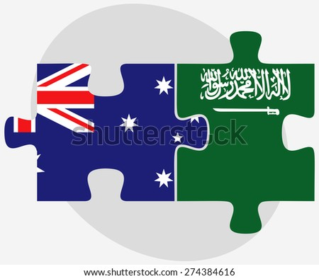 Vector Image - Australia and Saudi Arabia Flags in puzzle isolated on white background - stock vector