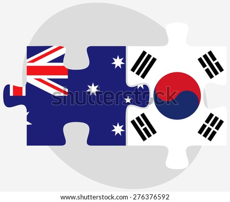 Vector Image - Australia and South Korea Flags in puzzle isolated on white background - stock vector