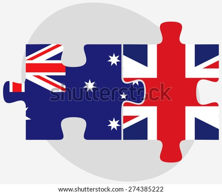 Vector Image - Australia and United Kingdom Flags in puzzle isolated on white background - stock vector