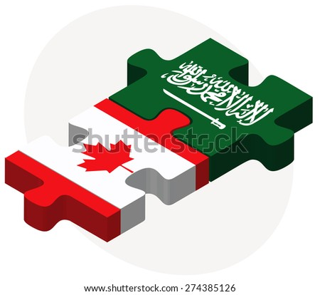 Vector Image - Canada and Saudi Arabia Flags in puzzle isolated on white background