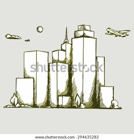 Vector image cityscape. The plane flies over the skyscrapers - stock vector