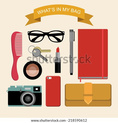 Vector image content of woman's bag with comb, purse, cosmetic, keys, liner, notepad, mobile phone, camera, sunglasses, ribbon in flat style. Glamorous fashion illustration What is inside my bag - stock vector