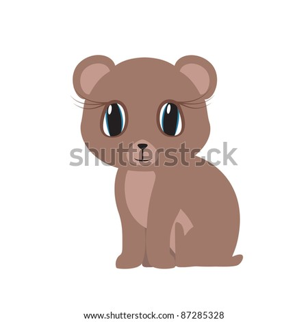 Vector image. Cute little bear sits big blue eyes