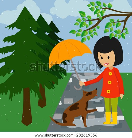Vector image. Dog and girl with umbrella in the rain - stock vector
