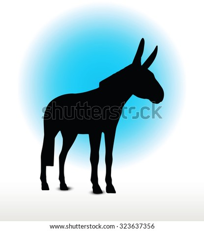 Vector Image, donkey silhouette, in standing pose, isolated on white background - stock vector