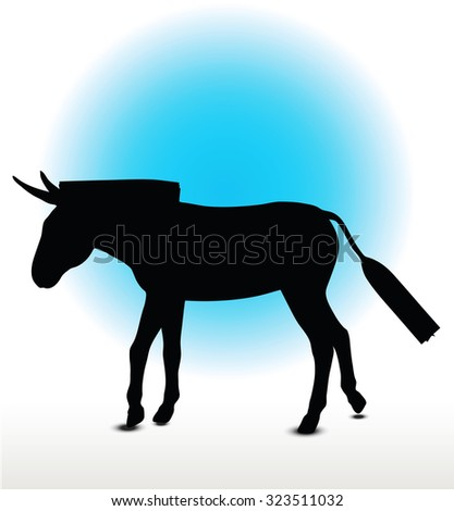 Vector Image, donkey silhouette, in walk pose, isolated on white background - stock vector