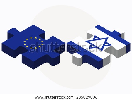 Vector Image - European Union and Israel Flags in puzzle isolated on white background - stock vector