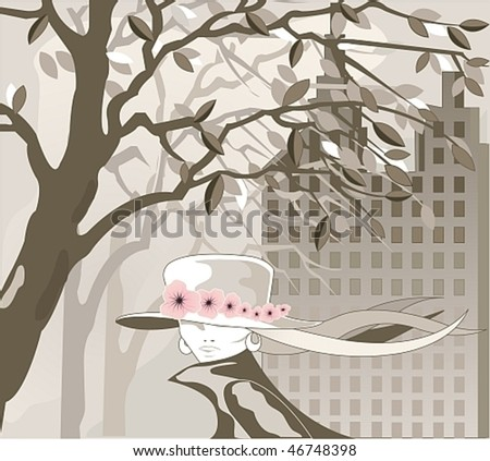 Vector Image foggy city and going girl in the hat - stock vector