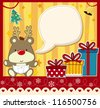 vector image for christmas card with baby rudolph, gift boxes  and text ballon for your message and other xmas theme elements - stock photo