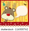 vector image for christmas card with baby rudolph with text ballon for your message and other xmas theme elements - stock photo