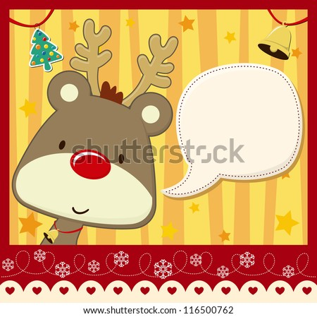 vector image for christmas card with baby rudolph with text ballon for your message and other xmas theme elements - stock vector