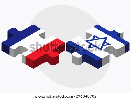 Vector Image - France and Israel Flags in puzzle isolated on white background - stock vector