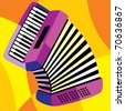 vector image harmonica. Stylization of color overlapping forms. - stock vector