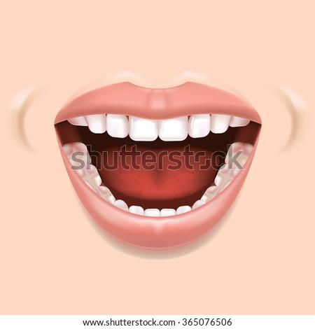 Vector image. Healthy, white teeth. Open mouth. - stock vector
