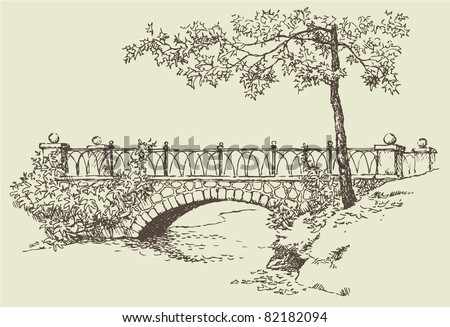 Vector image. Landscape sketch of the branches of a maple near the stone bridge over the river - stock vector