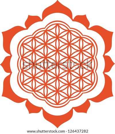 Vector image /  Lotus - Flower of life / symbol harmony and balance