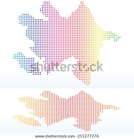 Vector Image -  Map of Republic of Azerbaijan with with Dot Pattern - stock vector