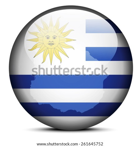 Vector Image -  Map on flag button of Eastern Republic of Uruguay - stock vector