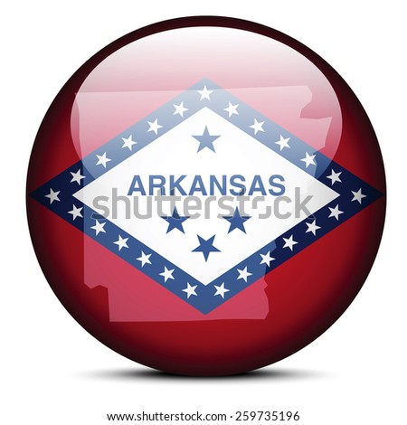 Vector Image - Map on flag button of USA Arkansas State - stock vector