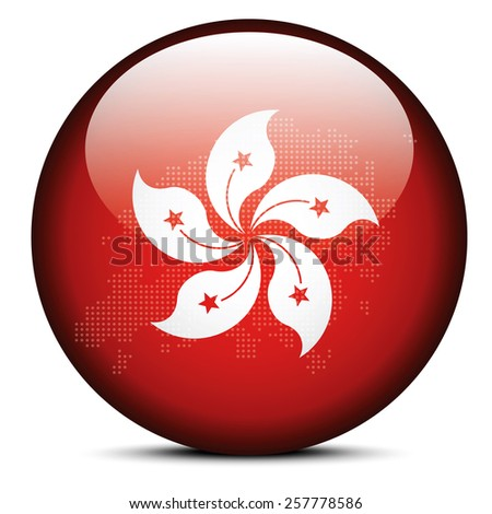 Vector Image - Map with Dot Pattern on flag button of Hong Kong SAR China