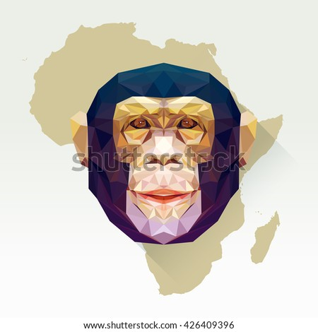 Vector image monkey in flat design with long shadow. Geometric chimpanzee illustration in polygonal style. Monkey low poly. Animal protection living in Africa or national park. African mammal. - stock vector