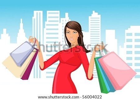 Vector image of a beautiful girl in a red dress with a successful shopping - stock vector